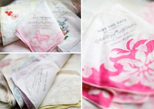 vintage handkerchief save the dates